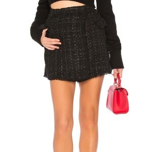 Astr the Label Cece Black Tweed Mini Skort Small